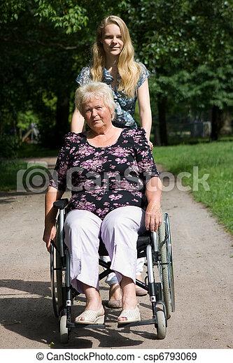 neta, cadeira rodas, mulher, sênior, dela - csp6793069