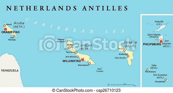Vector Illustration of Netherlands Antilles Political Map Aruba