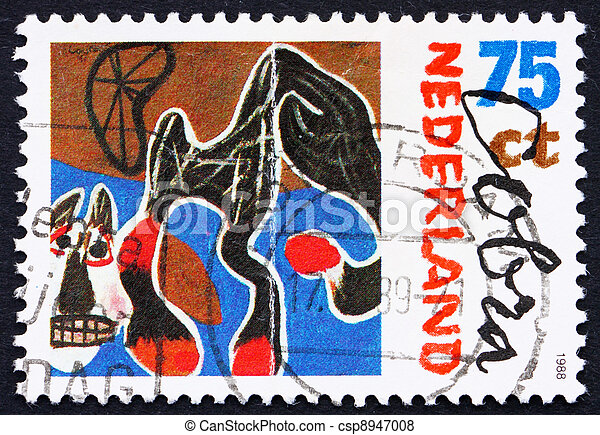 NETHERLANDS - CIRCA 1987: a stamp printed in the Netherlands shows Fallen Horse, 1950, Painting by Constant, Artist Belonging to Cobra, circa 1987 - csp8947008
