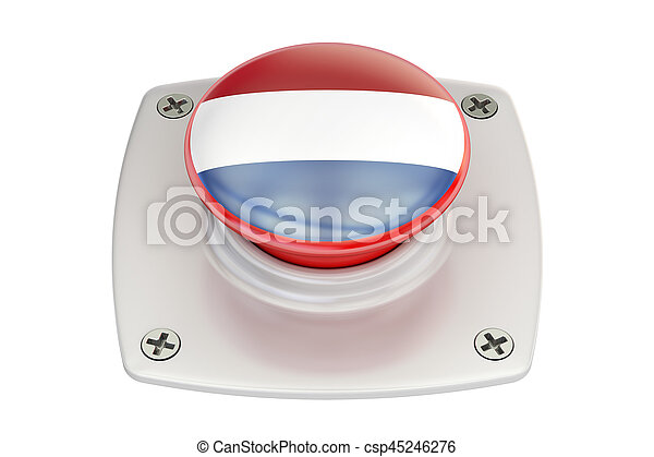 Netherlands flag push button, 3D rendering - csp45246276