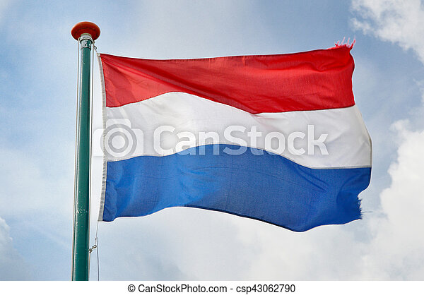 Netherlands flag waving in the wind - csp43062790