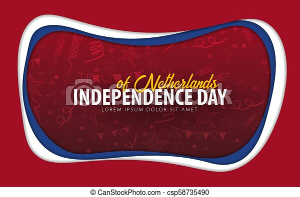 Netherlands. Independence day greeting card. Paper cut style. - csp58735490