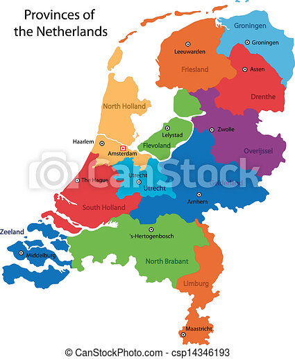 Netherlands map Administrative division of the kingdom of eps