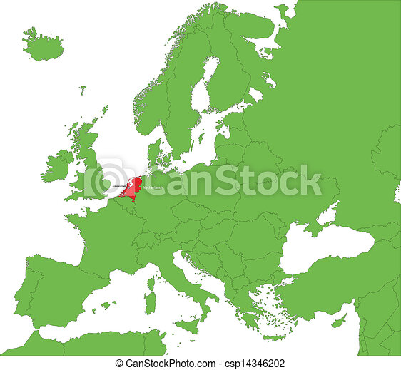 Netherlands map location of netherlands on the europe vector netherlands map csp14346202 gumiabroncs Images