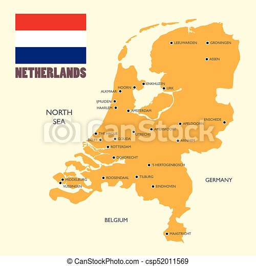 Netherlands map with flag and english label Netherlands map