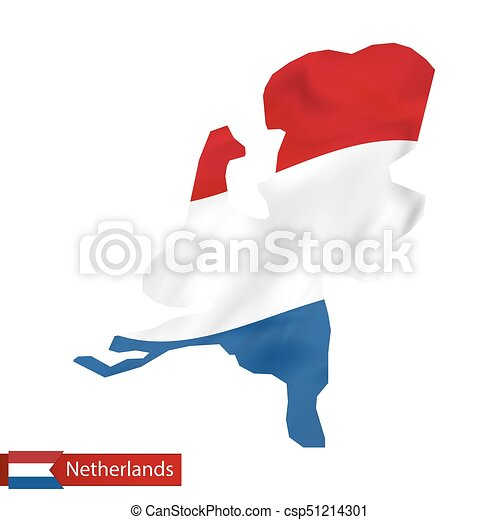Netherlands map with waving flag of Netherlands. - csp51214301