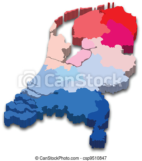 Vectors Illustration of Netherlands province map Vector