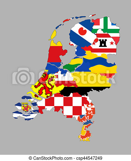 Netherlands regions map. Netherlands country regions province flag ...