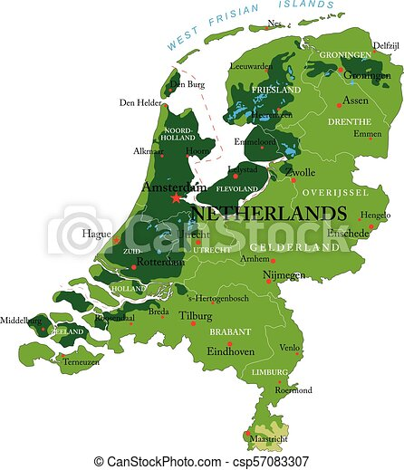Netherlands relief map Highly detailed physical map of vector