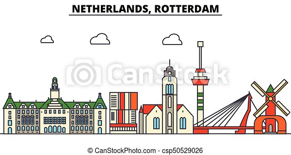 Netherlands, Rotterdam. City skyline architecture, buildings, streets, silhouette, landscape, panorama, landmarks. Editable strokes. Flat design line vector illustration concept. Isolated icons set - csp50529026