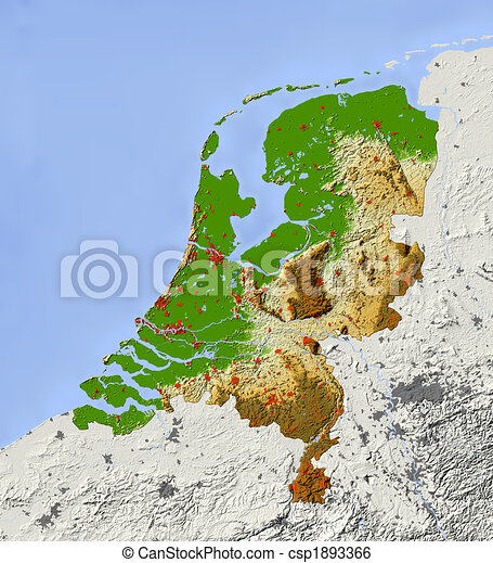 Netherlands shaded relief map Netherlands shaded relief stock