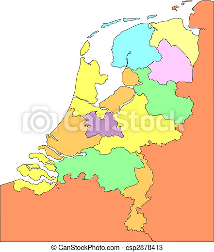 Netherlands with Administrative Districts and Surrounding Countries - csp2878413