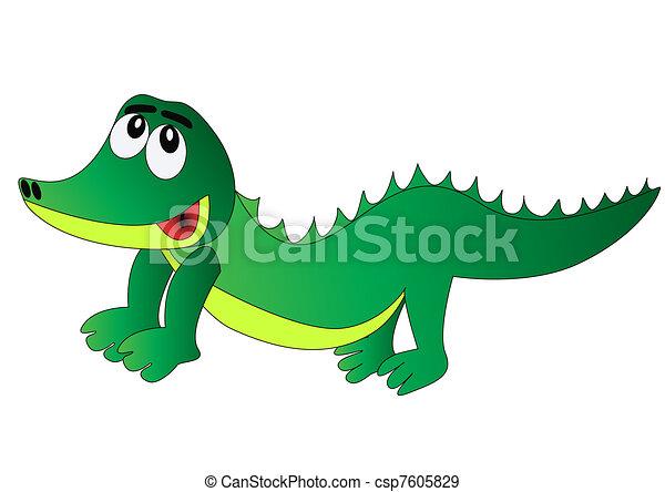 nett, isoliert, fröhlich, krokodil - csp7605829
