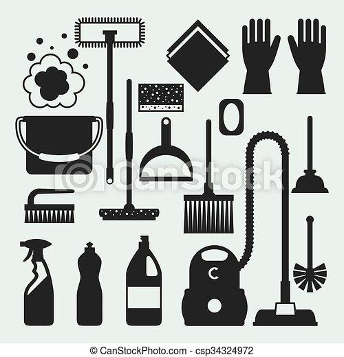 nettoyage, être, conceptions, utilisé, ménage, icônes, set., sites, bannières, toile, image, boîte - csp34324972