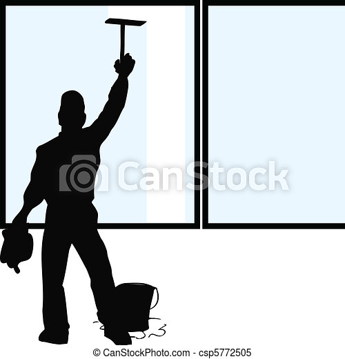 nettoyeur, fenêtre, silhouette - csp5772505