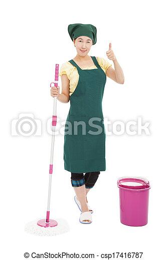 nettoyeur, pouce haut, femme foyer, jeune, asiatique, heureux - csp17416787