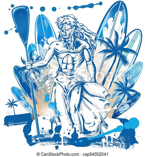 netuno, surfboard, fundo, surfista - csp54352041