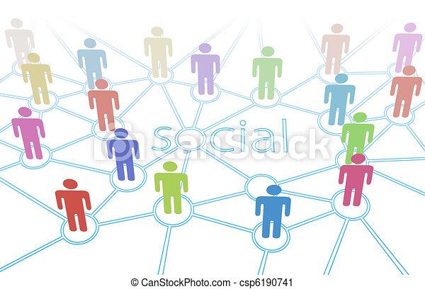 netværk, folk farve, medier, sammenhængee, sociale - csp6190741
