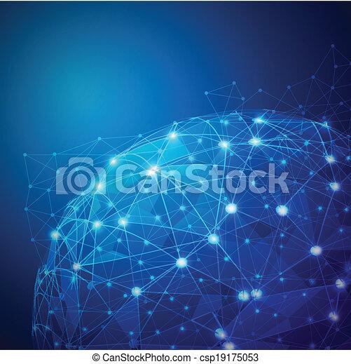 netværk, globale, mesh, vektor, illustration, digitale - csp19175053