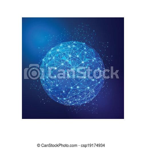 netværk, globale, mesh, vektor, illustration, digitale - csp19174934