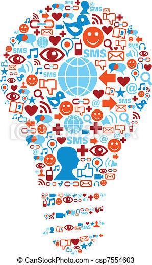 netværk, iconerne, medier, symbol, lampe, sociale - csp7554603
