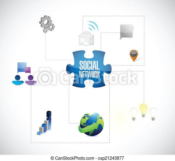netværk, opgave, illustration, stykker, konstruktion, sociale - csp21243877