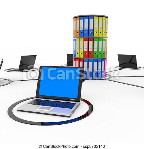 netwerk, archief, database., of, laptops, computer, abstract - csp8702140