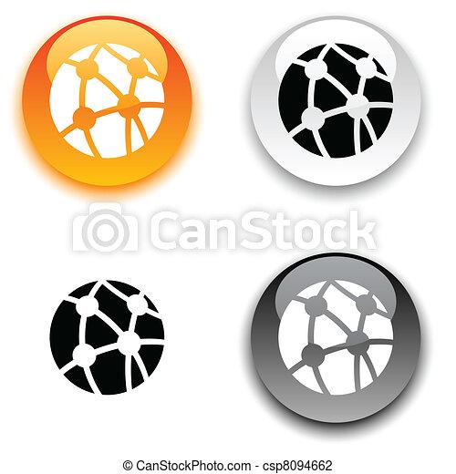 netwerk, button. - csp8094662