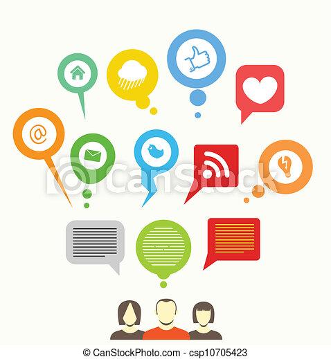 netwerk, media, abstract, toespraak, sociaal, bellen - csp10705423