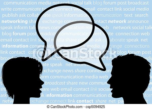 netwerk, mensen, aandeel, toespraak, sociaal, bellen, praatje - csp5094925