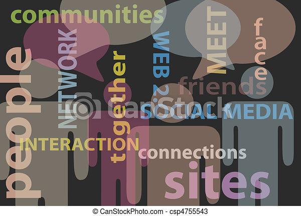 netwerk, mensen, media, communicatie, toespraak, sociaal - csp4755543