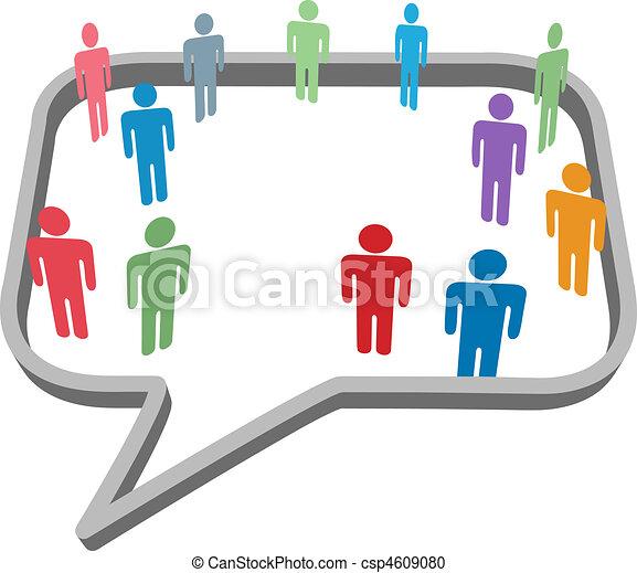 netwerk, mensen, media, symbolen, toespraak, sociaal, bel - csp4609080