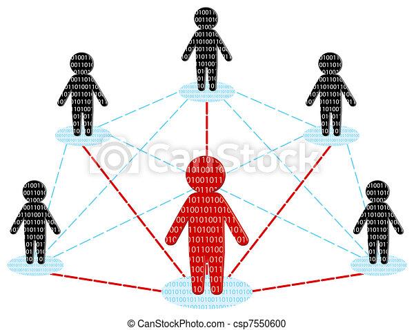 netwerk, zakelijk, concept., communication., illustratie, vector, team - csp7550600