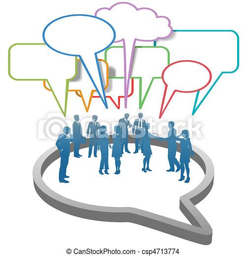 netwerk, zakenlui, binnen, toespraak, sociaal, bel - csp4713774