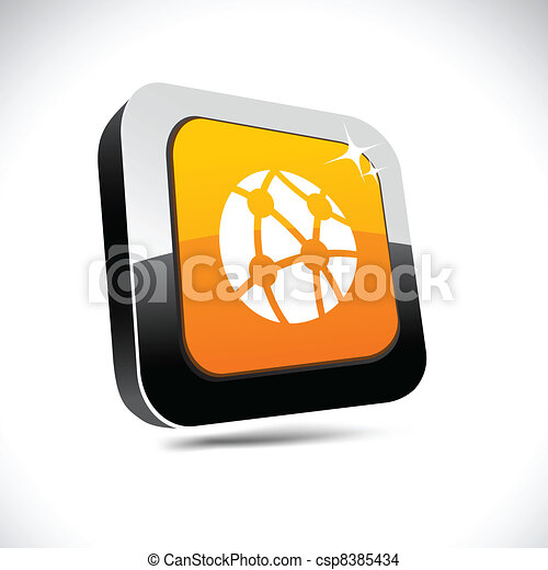 Network 3d square button. - csp8385434