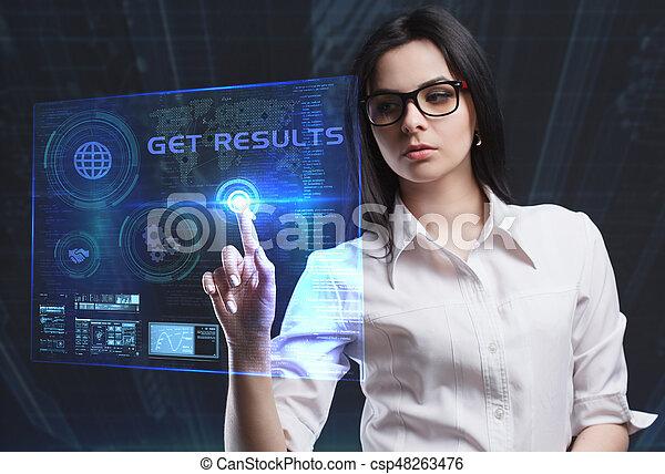 network., begriff, sieht, technologie, arbeitende , bekommen, inscription:, schirm, ergebnisse, virtuell, junger, unternehmer, zukunft, internet geschäft - csp48263476