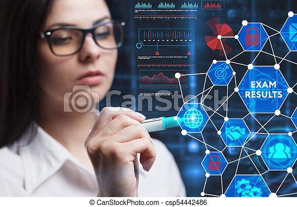 Das Konzept der Wirtschaft, Technologie, das Internet und das Netzwerk. Ein junger Unternehmer, der an einem virtuellen Bildschirm der Zukunft arbeitet und die Inschrift sieht: Erfassen Sie Ergebnisse - csp54442486