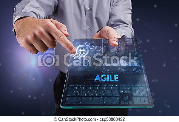 network., conceito, vê, tecnologia, trabalhando, inscription:, ágil, tela, jovem, virtual, negócio, empresário, futuro, internet - csp58888432