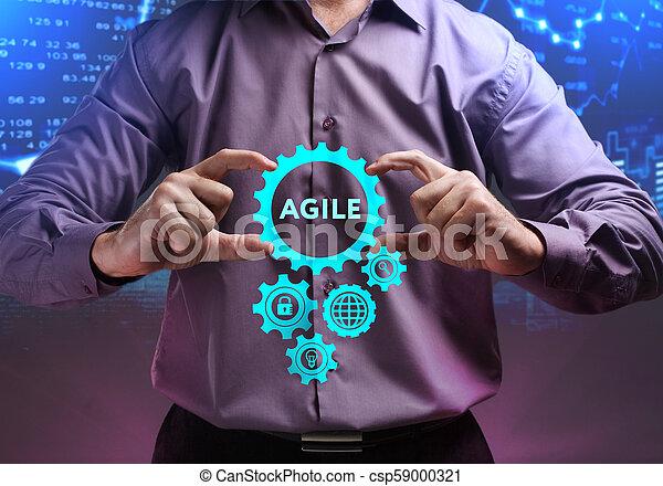 network., conceito, vê, tecnologia, trabalhando, inscription:, ágil, tela, jovem, virtual, negócio, empresário, futuro, internet - csp59000321