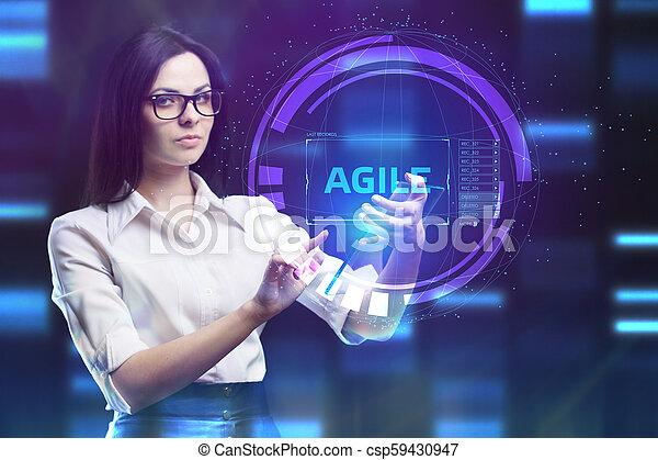 network., conceito, vê, tecnologia, trabalhando, inscription:, ágil, tela, jovem, virtual, negócio, empresário, futuro, internet - csp59430947