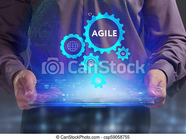 network., conceito, vê, tecnologia, trabalhando, inscription:, ágil, tela, jovem, virtual, negócio, empresário, futuro, internet - csp59058755