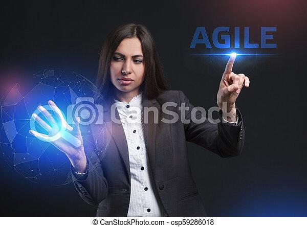 network., conceito, vê, tecnologia, trabalhando, inscription:, ágil, tela, jovem, virtual, negócio, empresário, futuro, internet - csp59286018