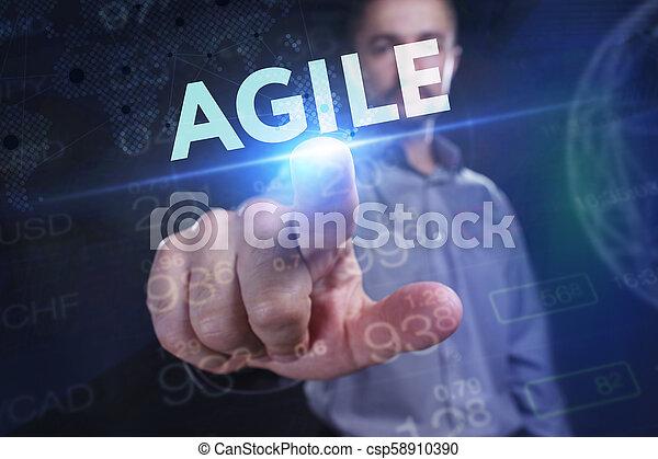 network., conceito, vê, tecnologia, trabalhando, inscription:, ágil, tela, jovem, virtual, negócio, empresário, futuro, internet - csp58910390