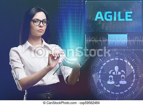 network., conceito, vê, tecnologia, trabalhando, inscription:, ágil, tela, jovem, virtual, negócio, empresário, futuro, internet - csp59562484