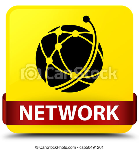 Network (global network icon) yellow square button red ribbon in middle - csp50491201