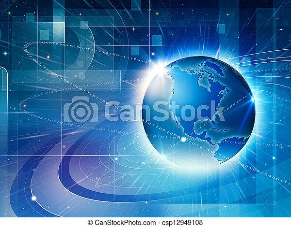network., informatie, abstract, globaal, achtergronden, techno - csp12949108