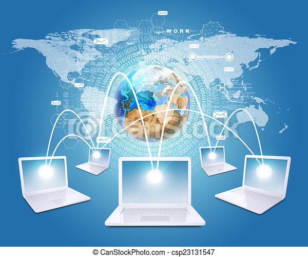 network., landkarte, laptops, verbunden, hintergrund, welt, figuren, weißes, erde - csp23131547