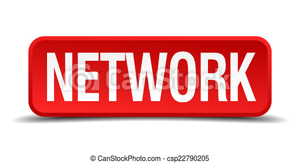 Network red 3d square button isolated on white - csp22790205