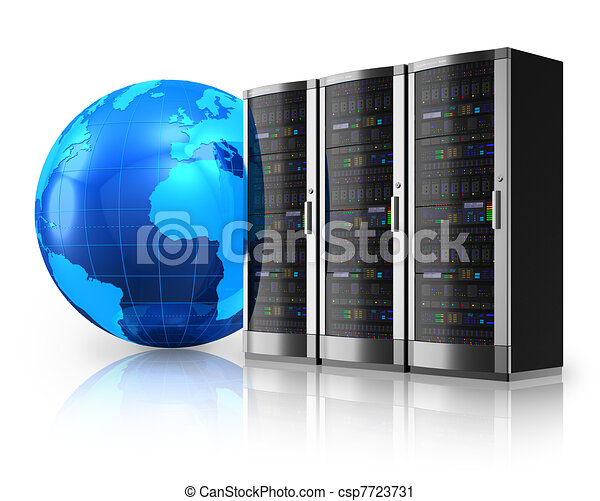 Network servers and Earth globe - csp7723731
