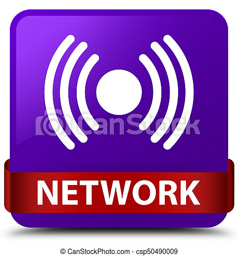 Network (signal icon) purple square button red ribbon in middle - csp50490009